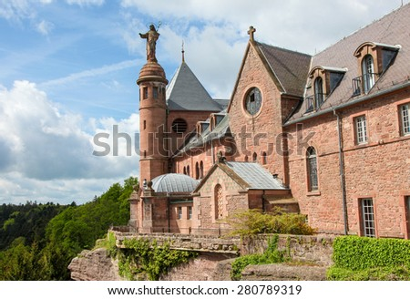 Hohenburg Abbey at Mont Sainte-Odile in the Vosges mountains in Alsace, France. - stock photo