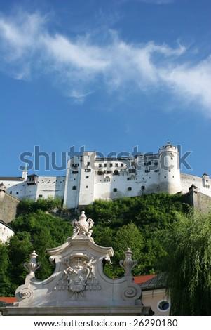 Hohensalzburg fortress in a sunny dy (Salzburg, Austria) - stock photo