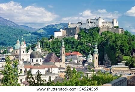 Hohensalzburg Fortress in Salzburg. Austria - stock photo