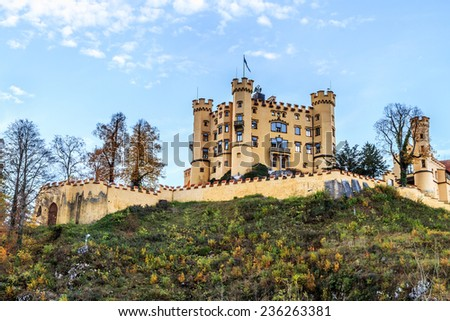 Hohenschwangau, Beautiful Landscape Picture of Hohenschwangau in Autumn, Castle for the Kings of Bavaria near Munich, Germany. Picture was taken in Fall October - stock photo