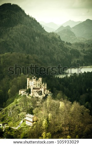 Hohenschwangau Castle in Bavaria, Germany, with vintage feel - stock photo