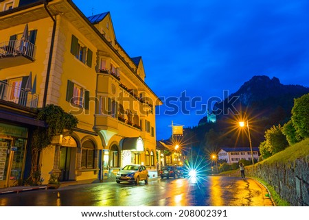 HOHENSCHWANGAU, GERMANY - 19 JUNE 2014: Hotel Muller in Hohenschwangau village at Neuschwanstein Castle, Germany. Hohenschwangau is bavarian village located between two popular castles.