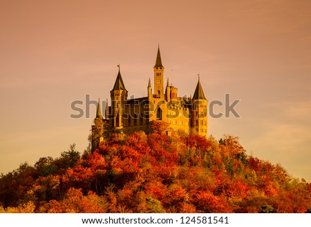 Hohenzollern castle in Swabian during autumn, Germany - stock photo