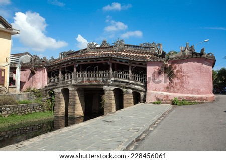 Hoi An City, Japanese Bridge, UNESCO World Heritage Site  - stock photo