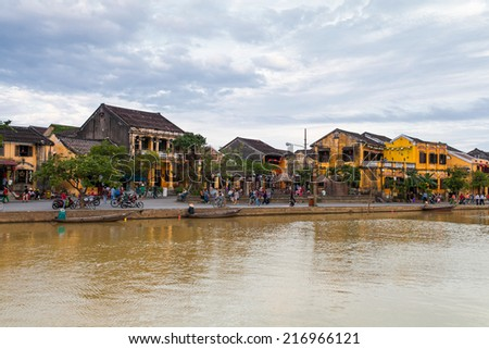 hoi an riverside at Quang Nam, vietnam, near Da Nang City. It is recognized as a World Heritage Site by UNESCO . - stock photo