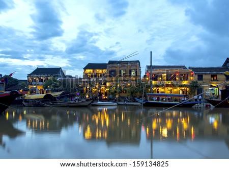Hoi An riverside in Vietnam at dusk - stock photo