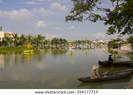 HOI AN, VIETNAM - JANUARY 04, 2016: Sunny day on the Thu Bon river