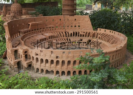 Hoi An, Vietnam - Jun 20, 2015: Model of Colosseum or Coliseum made from earthenware and displayed at Thanh Ha earthenware village, Hoi An ancient town. Hoi An is a World Cultural Heritage (UNESCO). - stock photo