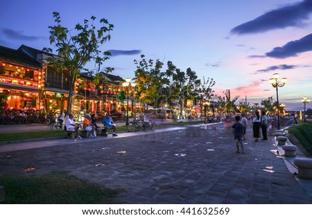Hoi An, Vietnam - May 21, 2016: Hoi An Ancient Town during blue hour. Hoi An is recognized as a UNESCO Heritage Site.