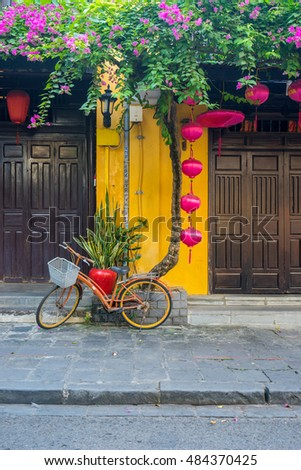 Hoi An, Vietnam - May 25 2016 : Old houses in Hoi An ancient town, UNESCO world heritage. Hoi An is one of the most popular destinations in Vietnam.