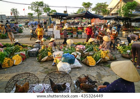 Hoi An, Vietnam - May 20, 2016: Outdoor markets in the streets of Hoi An, Vietnam