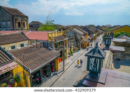 Hoi An, Vietnam - May 19, 2016: View of roof tops of Hoi An Ancient Town. Hoi An is recognized as a world heritage site by UNESCO.