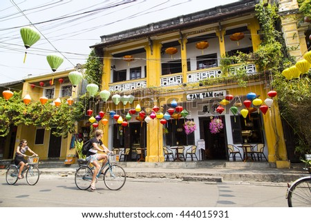 Hoian, Vietnam - Apr 2, 2016: Street view with old houses in Hoi An ancient town, UNESCO world heritage. Hoi An is one of the most popular destinations in Vietnam.