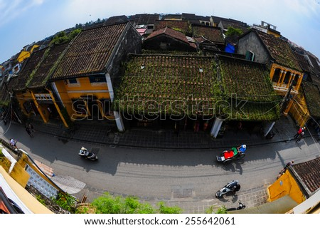 HOIAN, VIETNAM-JAN 23:Hoi An ancient town from high view (fisheyes lens) at January 23, 2015 in Hoian, Vietnam. Hoian is recognized as a World Heritage Site by UNESCO. - stock photo