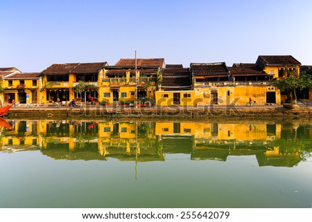 HOIAN, VIETNAM, JANUARY 23: Hoai river in Hoian ancient town on January 23, 2015 in Hoian, Vietnam. Hoian is recognized as a World Heritage Site by UNESCO. - stock photo