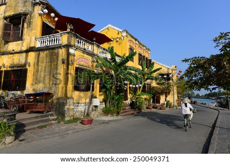 HOIAN, VIETNAM, JANUARY 23: Hoian ancient town on January 23, 2015 in Hoian, Vietnam. Hoian is recognized as a World Heritage Site by UNESCO. - stock photo