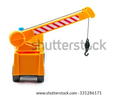 hoisting crane with blocs at the work place - stock photo