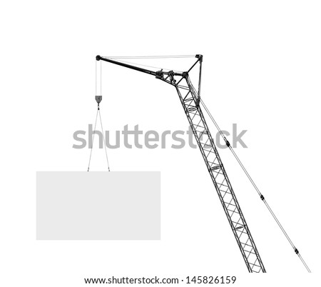 hoisting crane with empty board, silhouette on a white background - stock photo