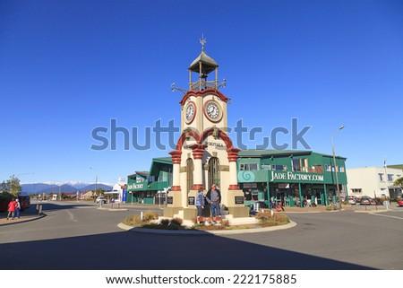 HOKITIKA, NEW ZEALAND -MAY 19: Hokitika Clock Tower in Central business district on May 19, 2012 in Hokitika, New Zealand. Hokitika is a township in the West Coast Region of the South Island. - stock photo