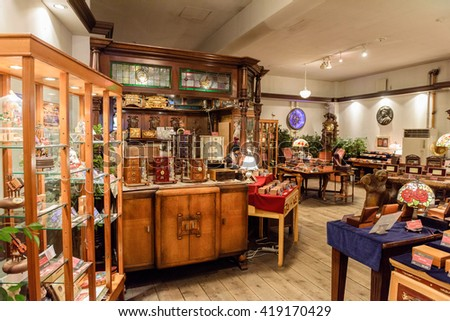 HOKKAIDO, JAPAN - JULY 21: 2015: An exhibition insidde Antique Music Box Museum in Otaru, Hokkaido, Japan.
