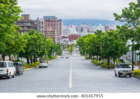 HOKKAIDO, JAPAN - JULY 20, 2015: Street in Motomachi district, Hakodate, Hokkaido, Japan. - stock photo