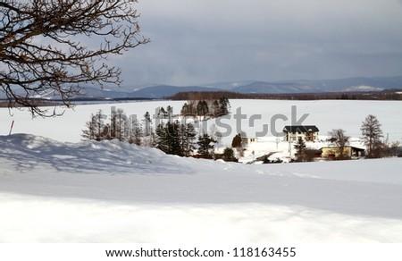 Hokkaido winter scenery, Japan - stock photo