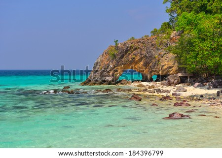 Hold cave on beach at Koh Lipe, Satun, Thailand - stock photo
