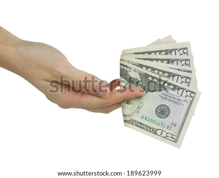 Hold fifty dollars in hand isolated on white, pay actions, concepts and ideas