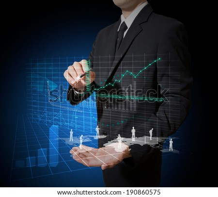 hold high technology map and graph - stock photo