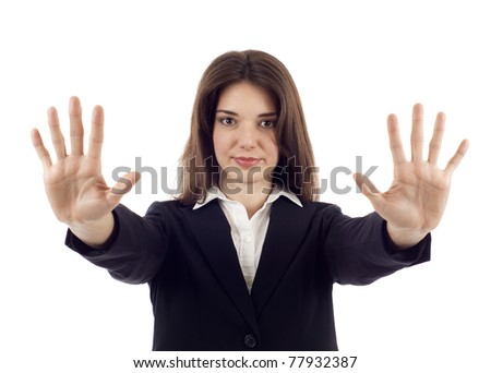 Hold on, Stop gesture showed by businesswoman hands isolated over white background - stock photo
