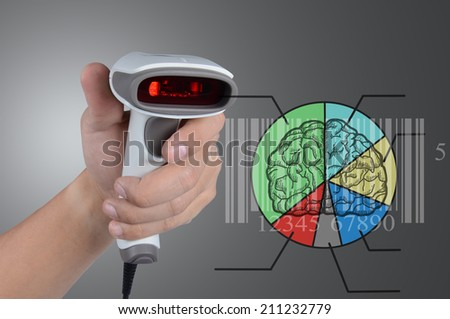 Hold scanner for check barcode market share to know status business - stock photo