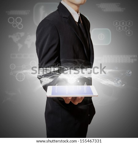 hold tablet with high technology and connection of business world - stock photo