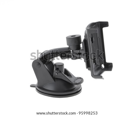 Holder for electronic device (phone, gps navigation device etc.) with suction cup - stock photo