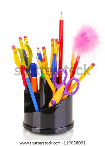 Holder for pencils isolated on white