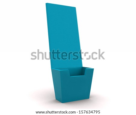 Holder template for designers - blue render 3d - stock photo