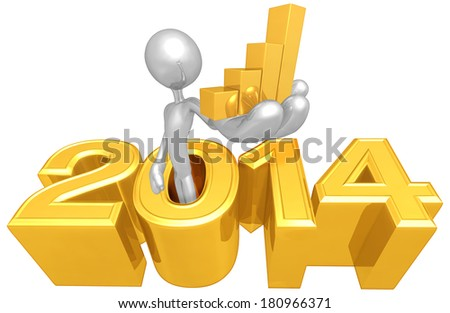 Holding A Bar Graph Coming Out Of The Year - stock photo