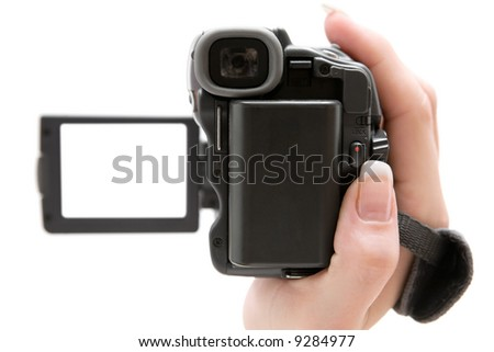 Holding a Camcorder - stock photo