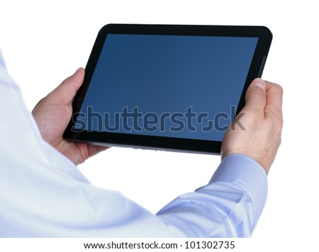 Holding a digital tablet with blank screen over white background