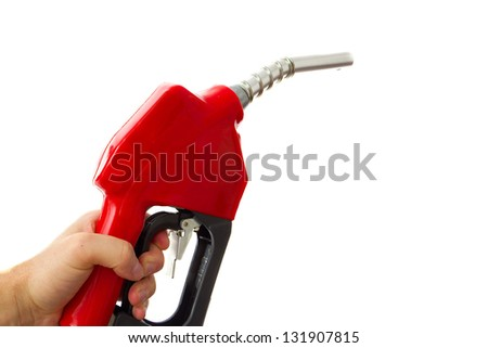 Holding a fuel nozzle against white background - stock photo