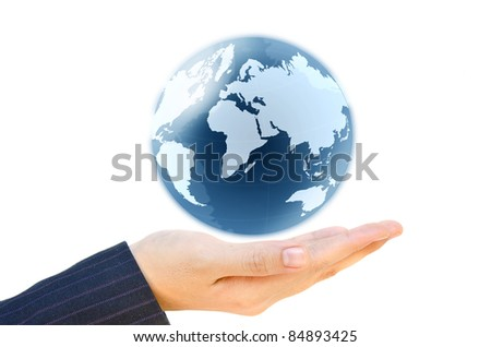 holding a glowing earth globe in his hand isolate on white.
