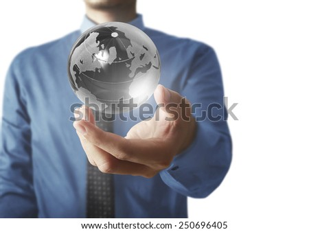 holding a glowing earth globe in his hands. Earth image provided by Nasa
