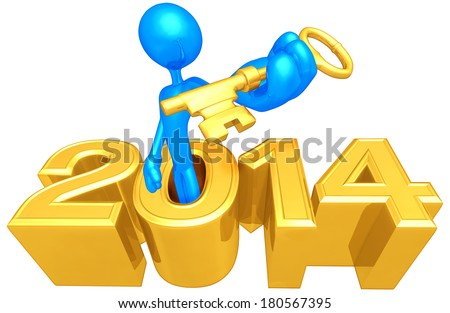 Holding A Gold Key Coming Out Of The Year - stock photo