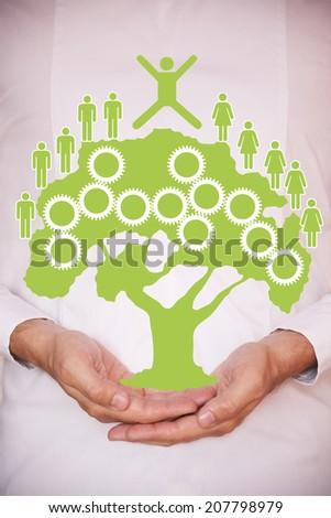 Holding a green tree - stock photo