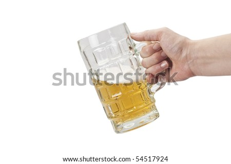 Holding a mug of beer (with clipping path) - stock photo