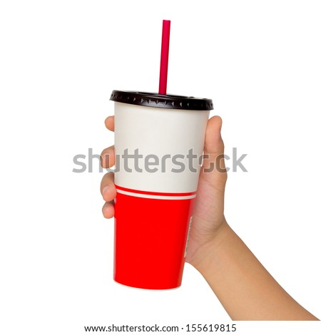 Holding a paper cup with tube isolated over white background - stock photo