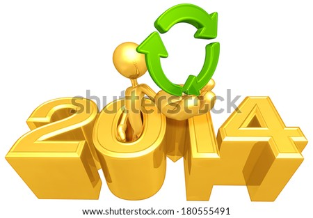 Holding A Recycle Symbol Coming Out Of The Year - stock photo