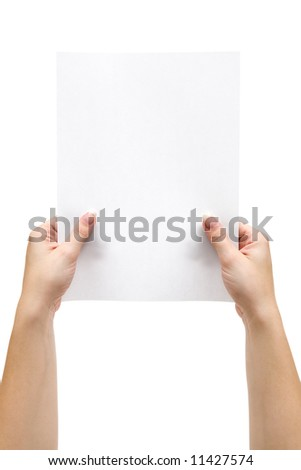 Holding a Sheet of Paper - stock photo