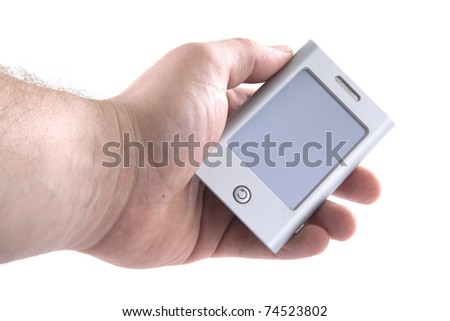 Holding a small PDA on a white background. - stock photo