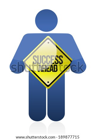 holding a success sign. illustration design over a white background - stock photo