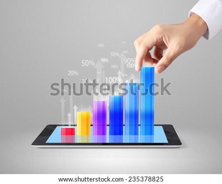holding a tablet computer with graphic